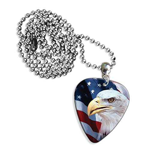 American Us Bald Eagle Chitarra Pick Necklace Collana (GD)