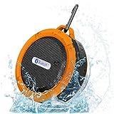 Qtuo Bluetooth3.0 ポータブルワイヤレス吸盤式スピーカー  マイク搭載(防水仕様 -IP65) オレンジ