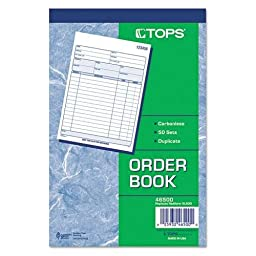 Tops 46500 Sales Order Book, 5-9/16 x 7-15/16, Two-Part Carbonless, 50 Sets/Book