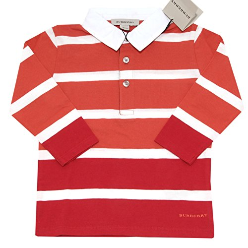 6908F polo BURBERRY CHECK COTONE MANICA LUNGA maglia bimbo t-shirt kids [3 YEARS]
