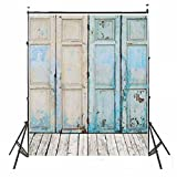 3x5ft Newest Blue Four Wood Doors & Wood Floor Vinyl Wedding Backdrop Background (Color: Blue Doors(3x5ft), Tamaño: 0.9x1.5m (3x5ft))