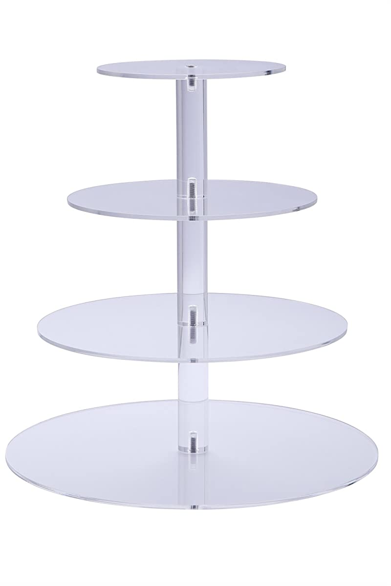 BonNoces Acrylic 4-Tier Round Wedding Cake Stand with Bottom Tier 5mm Thick / Stacked Party Cupcake Stand / Dessert Stand Tower/ Food Display Stand