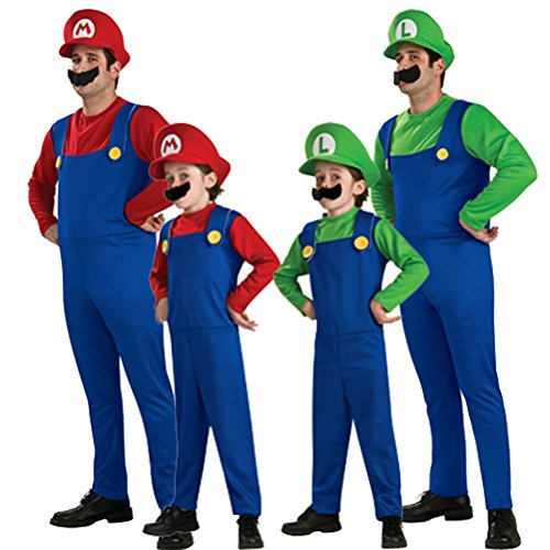 Adult Kids Super Mario Brothers Cosplay Mario Full Set Costume Halloween Party Xmas
