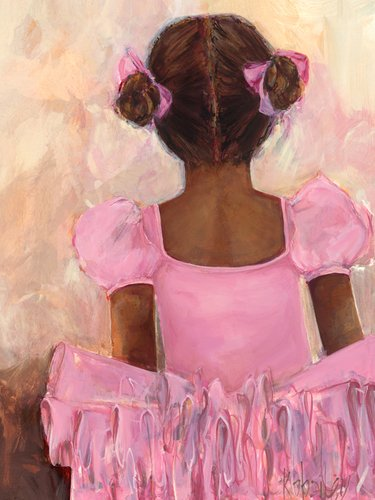 Oopsy Daisy Perfect Ballerina African American Stretched Canvas Wall Art by Kristina Bass Bailey, 18 by 24-Inch