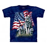The Mountain Mens Wolf Flag Short Sleeve Tee, Blue,  Medium