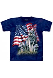 The Mountain Mens Wolf Flag Short Sleeve Tee