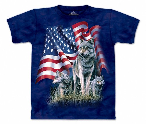 The Mountain Mens Wolf Flag Short Sleeve T-Shirt, Blue, Large