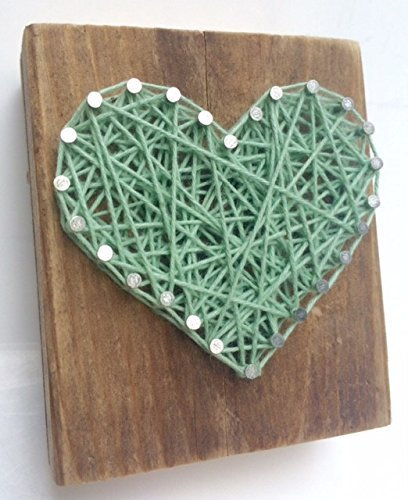Rustic wood aqua string art heart block - A unique gift for a new Baby Boys, Weddings, Anniversaries, Birthdays, Valentine's Day, Christmas, house warming and just because gifts.