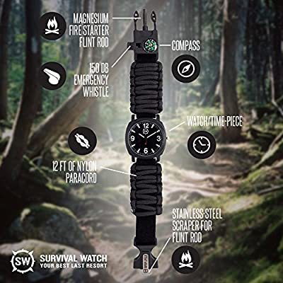 Survival Watch® | Ultimate Emergency Tool For Men & Women | Features Military Grade Paracord, Compass, Whistle, & Fire Starter | Battery Powered, Analog Watches | Highest Quality Survival Gear | Water Resistant | Adjustable | 4 Colors