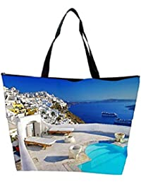 Snoogg White House Beside The Pool Designer Waterproof Bag Made Of High Strength Nylon