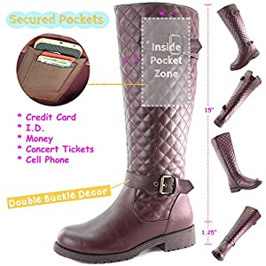 Women's DailyShoes Quilted Round toe Knee High Combat Rider Boot Mid Calf with Side Pocket, 11