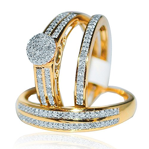 Midwest gioielli, da donna, motivo: suo e suo Trio-Set di anelli con diamante 1/3Cttw nuziale in oro giallo 10 K, I/Jcolor, 0,33Cttw)