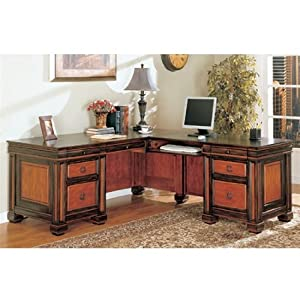 Home Office L-Shaped Executive Desk in Dark Two Tone Finish by Coaster
