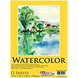 """U.S. Art Supply 12"""" x 16"""" Premium Heavy-Weight Watercolor Painting Paper Pad, 140 Pound (300gsm), Pad of 12-Sheets"""