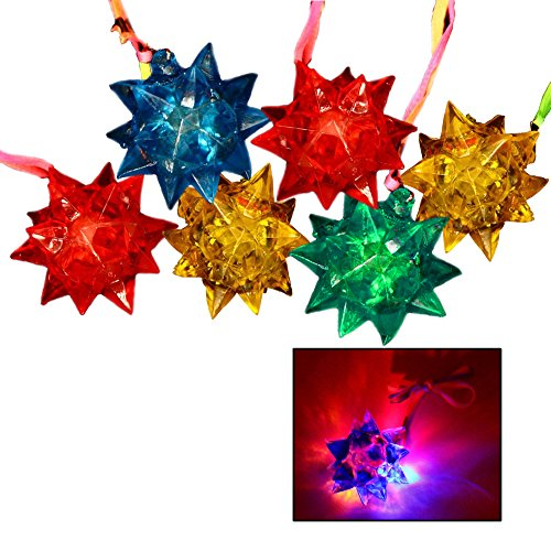 Toy Cubby Light-up Flashing Glowing LED Spiky Jelly Crystal Necklace – 12 pcs