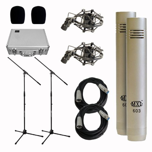 Mxl 603 Small Diaphragm Condenser Microphones (Pair) With Stands & Cables Bundle