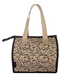 Foonty tote women brown small jute lunch bag(FJUWB6322)
