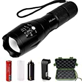 LED Tactical Flashlight,Akaho 900 Lumen XML T6 Portable Outdoor Water Resistant Torch with Adjustable Focus and 5 Light Modes,Rechargeable 18650 Lithium Ion Battery and Charger