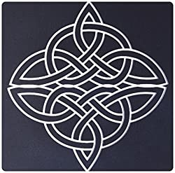 3dRose LLC 8 x 8 x 0.25 Inches Mouse Pad, White Celtic Design on a Black Background (mp_44278_1)
