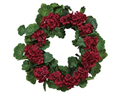 Melrose Red Geranium Wreath, 20-Inch Deep