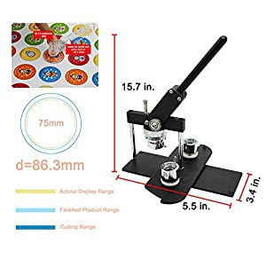 ChiButtons Kit 75mm (3) Button Maker Badge Press Machine-B400 + 75mm Round Die Moulds + 100 Set Pin Button Components + Adjustable Circle Cutter (Black-New) (Color: Black-new)