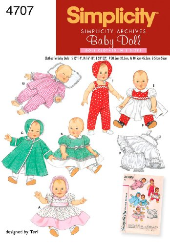 Simplicity Sewing Pattern 4707 Doll Clothes, A (S-M-L)