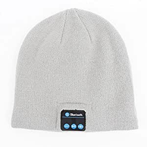 Mightyhand Bluetooth Beanie Music Soft Warm Knitted Hat Cap with Wireless Headphone Headset Stereo Speaker Microphone Hands-free (Light Grey)