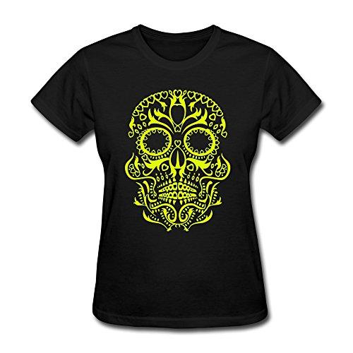 Ruifeng Women'S Sugar Skull T-Shirt - M Black