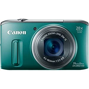 Canon PowerShot SX260 HS 12.1 MP CMOS Digital Camera with 20x Image Stabilized Zoom 25mm Wide-Angle Lens and 1080p Full-HD Video (Green)