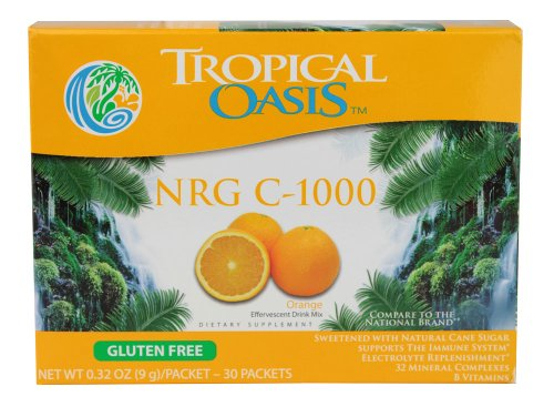 Tropical Oasis Nrg C-1000 Effervescent Drink Mix Gluten Free Orange -- 30 Packets