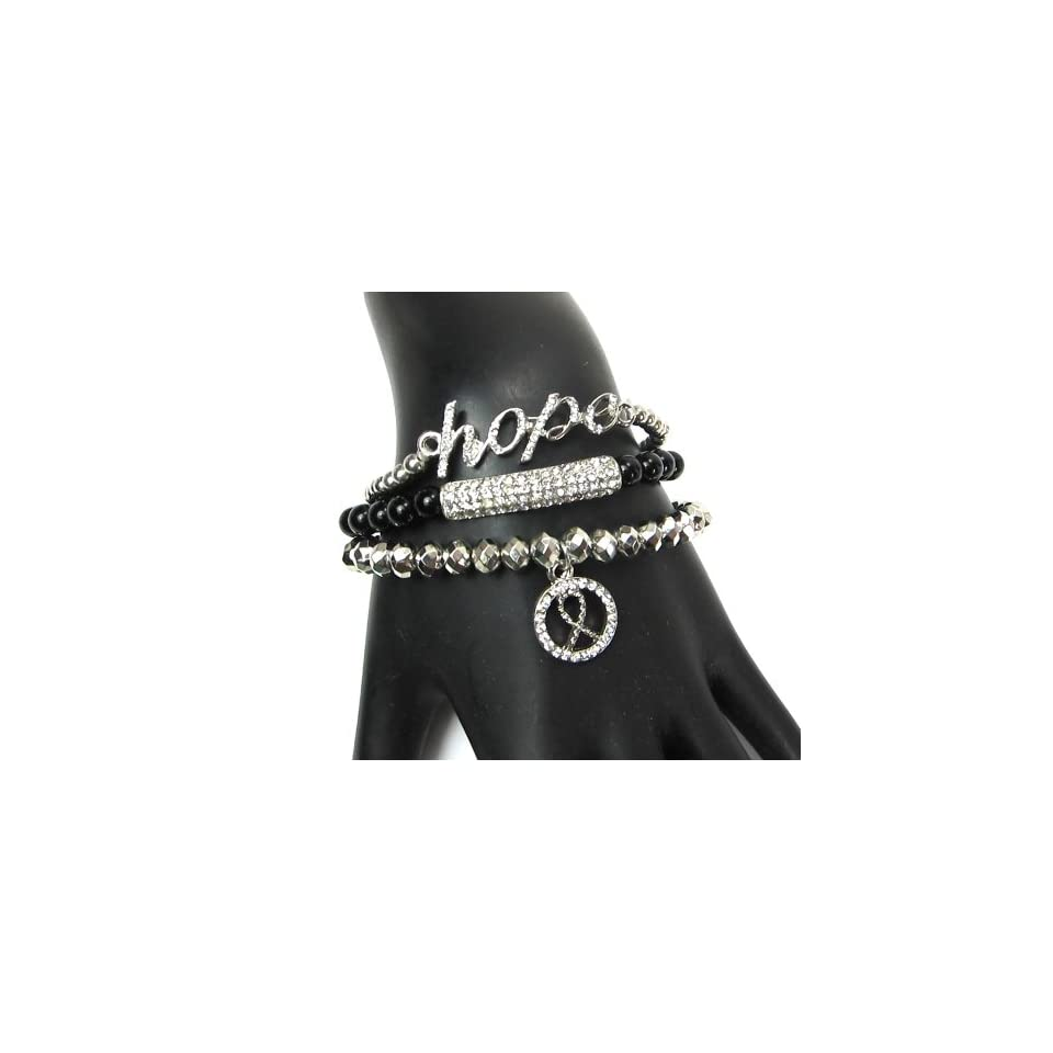 Women Fashion Silver Black Hope Arm Party Candy Beaded with Crystals Bar Stretch Bracelet