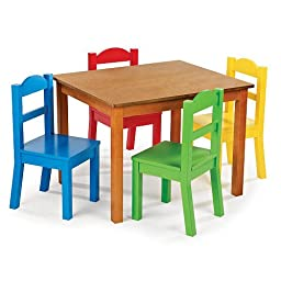 Tot Tutors Dark Pine Kids Toddlers Play Table and 4 Primary Colored Chair Set