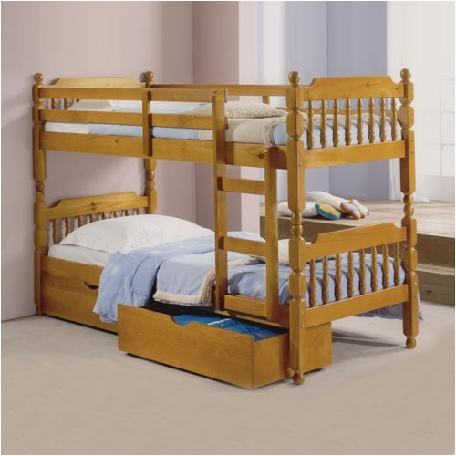 BUNK BED WITH STORAGE AND 2 ECONOMY MATTRESS ( SINGLE SIZE 3FT 90 X 190CM)