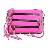 Rebecca Minkoff Mini 5 Zip Grey Neon Pink Leather Clutch Shoulder Bag Purse