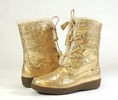 Coach Women's Tuesday Calf Winter Boot ( Gold/Natural, 9)