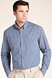 XXXL Blue Harbour Pure Cotton Mini Checked Shirt