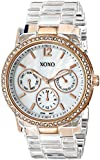 XOXO Women's XO5528 Clear Bracelet with Rhinestones on Rose Gold Case Watch