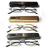 3 Pack Eye-Zoom Slim Metal Spring Hinge Reading Glasses with Pocket Aluminum Hard Case, +3.00 Strength