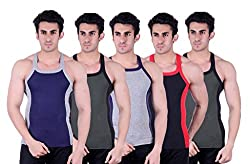 Zimfit Superb Gym Vests - Pack of 5 (BLU_GRN_GRY_BLK_GRN_95)
