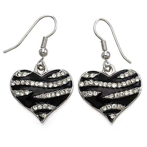 Zebra Stripe Animal Print Love Heart Dangle Earrings Rhinestone Lily