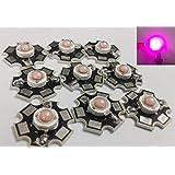 Led World 10 PCS 3W High Power LED 1500-1700K Dark Pink Light Emitter with 20mm Star Heatsink