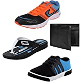 Bersache Men Combo Pack Of 4 Sports Shoe With Casual Shoe, Slipper & Wallet