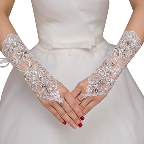Poplarboy Bridal Lace Rhinestone Fingerless Gloves for Wedding Party Prom White