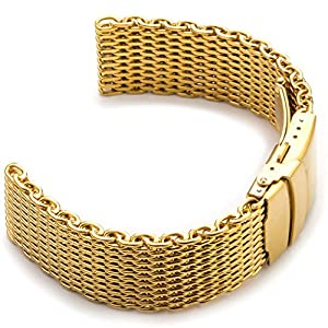 StrapsCo 18mm Yellow Gold PVD Shark Mesh Watch Band