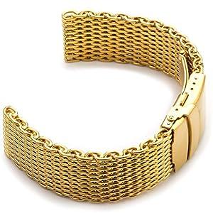StrapsCo 18mm Yellow Gold PVD Shark Mesh Watch Band