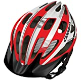 Carrera E0453 Hillborne 2 MTB Helmet with Rear Light - Red/White Shiny, 54-57 cm