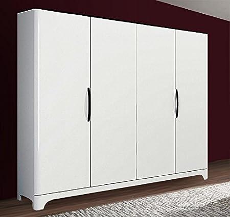 Kleiderschrank Schrank 4-turig 6555 schwarz / weiß Hochglanz