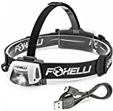 Foxelli USB Rechargeable Headlamp Flashlight With Up To 100 Hours Battery Life Time And New Ultra Bright Cree XP-G2 Led Technology, Waterproof, Impact Resistant, Lightweight & Comfortable, Easy to Use, Adjustable/Detachable Headband.