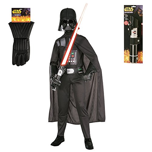 Kid's Darth Vader Star Wars Costume Set with Lightsaber and Gloves - Small