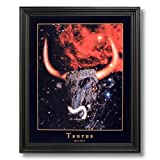 Taurus Bull Horn Zodiac Sign Astrology Home Decor Wall Picture Black Framed Art Print